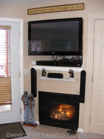 Living Room - 46&Quot; Plasma Hd Satelite TV C/W DVD Surround Home Theater System and Gas Fireplace