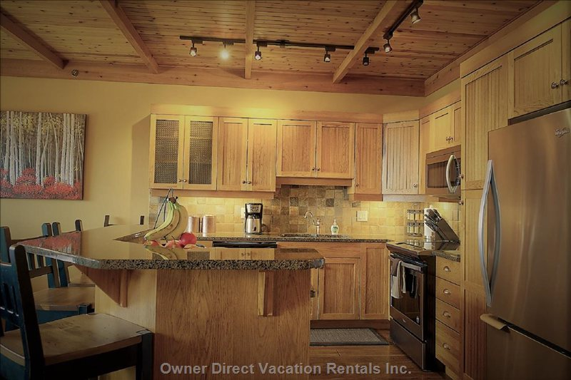 Hickory Cabinets and Stainless Steel Appliances