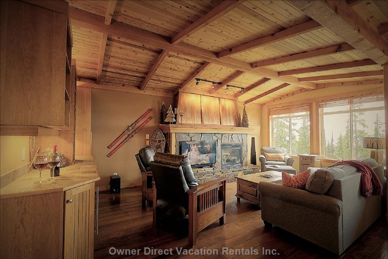 Cathedral Wood Cedar Ceiling with Gas Fireplace