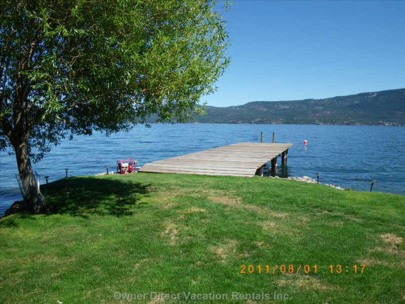 View from the Grassy Jetty Looking at the Dock and East across Okanagan Lake.