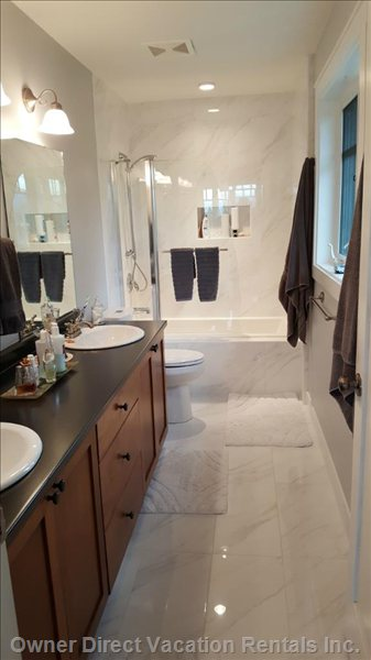 Master Ensuite (Newly Renovated) with Double Sink, Bath/Shower & Toilet