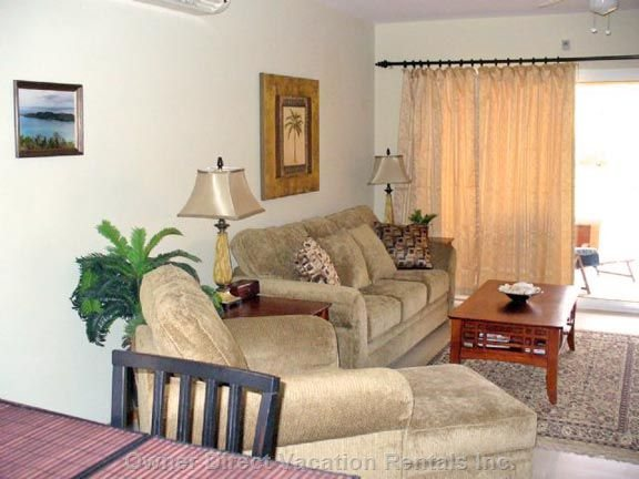 "Living Room with Pull-out Sofa Bed and 42"" Lcd TV"