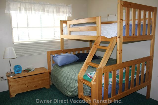 Second Bedroom on Main Level has a Bunk Bed, with a Twin on Top and a Double on the Bottom.