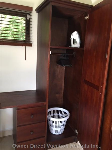 One of Two Small Closets in the Main Floor Bedroom