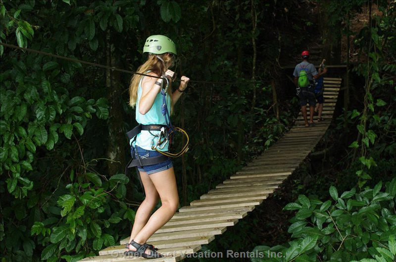 One of Two Suspension Bridges, Two Rappelling Stations and a Tarzan Swing in Addition to the Nine Zip Lining Platforms