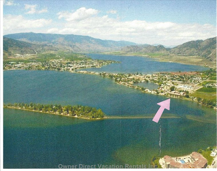 Aerial View of Osoyoos.  Arrow Shows the Location of the Resort on Lakeshore Drive.