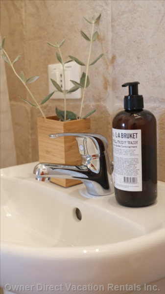 La Torretta Bathroom, Renovated 2013. All our Bathrooms are Equipped with Complimentary Swedish Organic Spa Products.