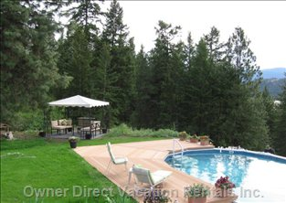 Gazebo and Pool Area Next to Pine Forest