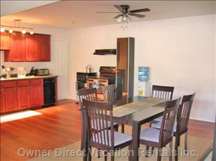 Large Dining and Fully Stocked Kitchen