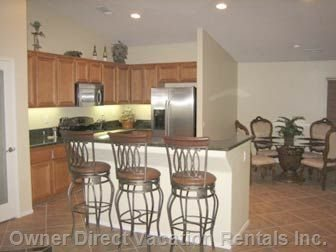 Kitchen with 3 Bar Stools, and Kitchen Table (Seats 4)