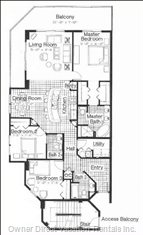 Floor Plan - Three Bedrooms, Three Bathrooms, Spacious Living Area, Total of 1700 Square Feet.  46 Foot Wrap around Balcony.  you Can See the Sunrise and Sunset from the Balcony.