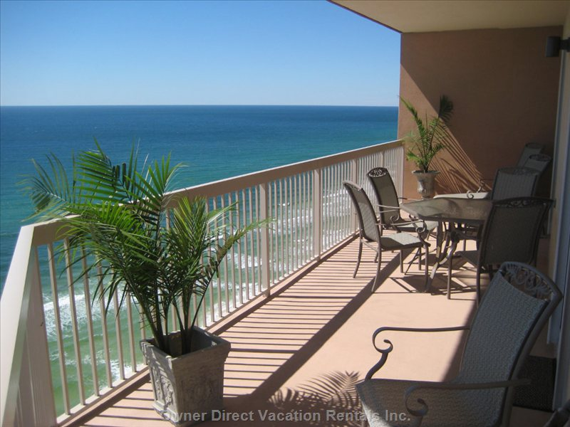Spacious 46 Foot Wrap around Balcony - There Are Two Lounge Chairs, a Table and Six Chairs on the Wide Spacious Balcony.  you Will Spend a Lot of Time out Here Enjoying the Incredible View and Fresh Air.