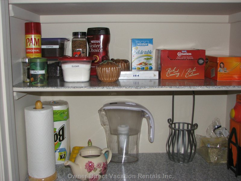 Pantry Stocked with Coffee, Tea, Hot Chocolate, Sugar, Salt, Spices, and Paper Towels
