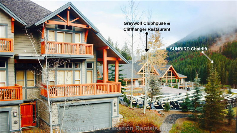 Ski-in / out to the Sunbird Chair. Steps to Greywolf Golf Course and Cliffhanger Restaurant.