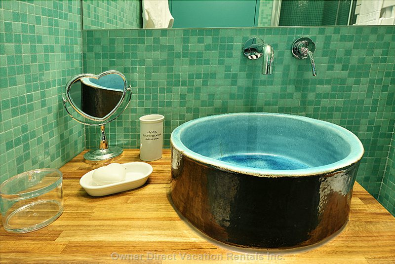 Bathroom - Spanish Hand Made Glazed Terra Cotta Sink