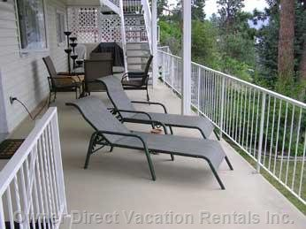 500 Sq. Ft.   Deck with Sun Beds, Patio Table / 6 Chairs and Gas Bbq.