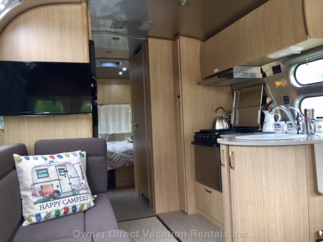 Interior of Airstream with all the Luxury's of Home Including Netflix.