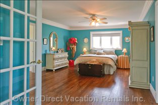 Master Bedroom - French Doors Open from Master Bedroom to Tranquil and Secluded Private Sitting Room.