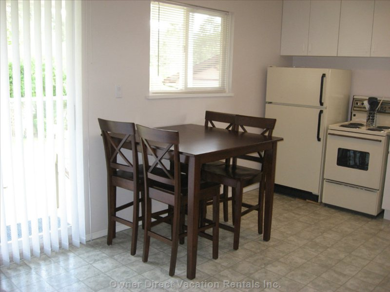 Main Floor Small Kitchen - as with the Upper Floor Kitchen, all Basic Dishware/Glassware, Cooking and Baking Items Are Supplied.  Basic Spices, Plastic and Foil Wraps, and Cleaning Supplies Are Also Provided.