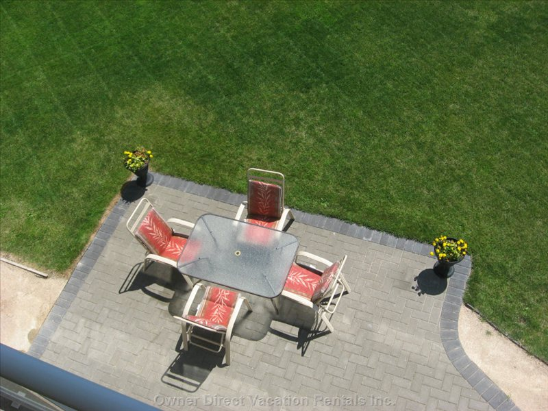 Patio View from Top Deck - you See the Patio- Looking down from the Very Top Upper Deck.