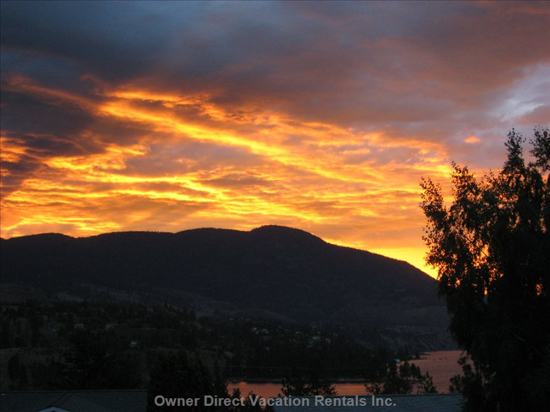 Any Season- Enjoy an Okanagan Sunset from the Front Deck, Sipping Okanagan Wine of Course!