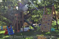 New Tree House that Will Help Make your Kids Trip Perfect. There is a 14 Foot Wide, Enclosed Trampoline off to the Right.