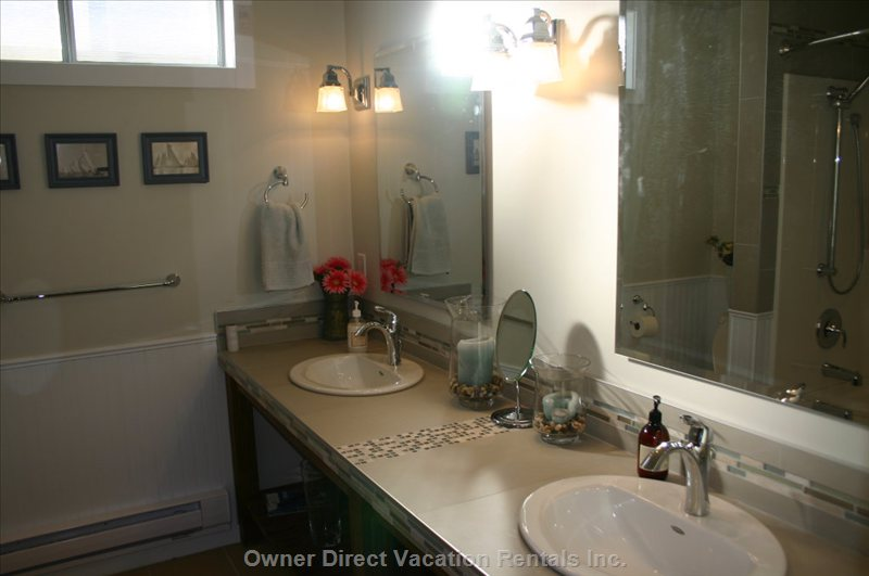 New Downstairs Bathroom - Plenty of Space, Heated Floors, Tiled Tub/Shower, Large Custom Hemlock Vanity