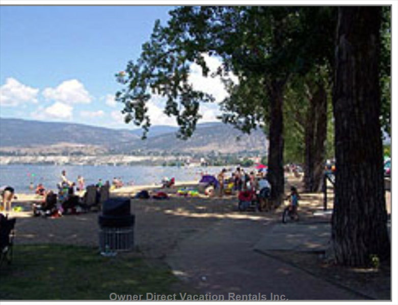 Beach at Lake Okanagan Just 1 Minute Walk from our Vacation House