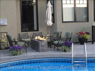 Natural Gas Firepit with Couch and Chairs