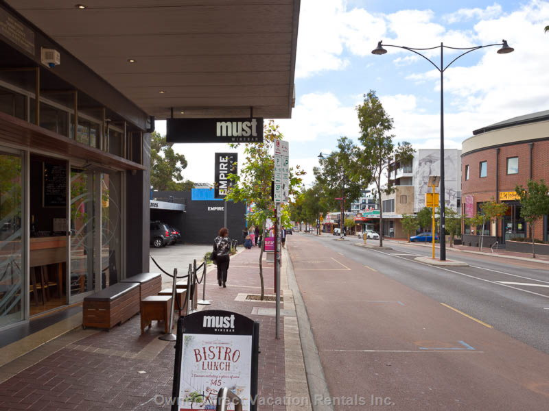 Street Scene with Building on Right.  The Best Cafe Strip  in Perth.  Public Transport to City Or Walk, Minutes.