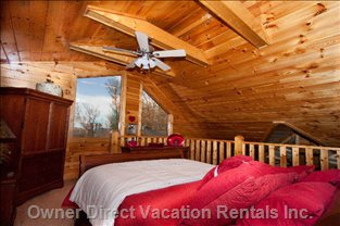 Upstairs Bedroom - Queen Bed with Pillow Top Foam Topper and Beautiful Mountain Views.