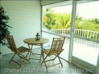 Skipper's Loft under Cover Screened Lanai with Ceiling Fan and Also a Bonus Outdoor Terrace.
