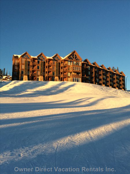 View of our Development, you are Staying on the Slopes.  Best Ski Access in all of Big White with Three Chairs Right below our Home!