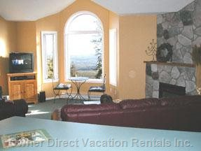 Living Room Looks out over Monashee Mountains and 2 Ski Runs