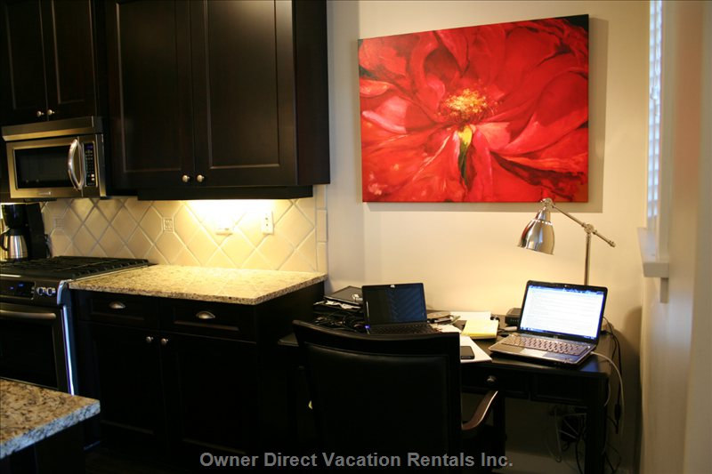 Work Station - Desk Located off Thekitchen is the Perfect Work Space to Put your Laptop and Get a little Work Done.