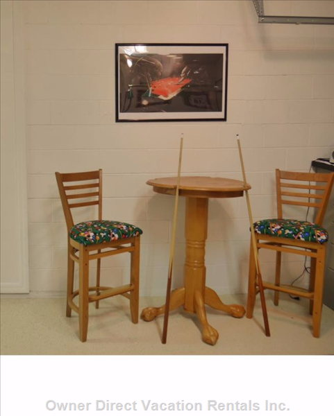 Bar Height Table and Stools  - Why Not Have a Family Tournament and Watch the Game?