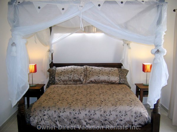 Our Guests Rave about our Comfortable Canopy Beds - King Size Master, Luxurious Canopy Beds on the Softest Pillow Top Mattresses.