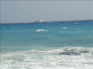 Ocean - Ocean with Pic of Ferry Going to Cosmal Island; 30min Trip from Playa Del Carmen