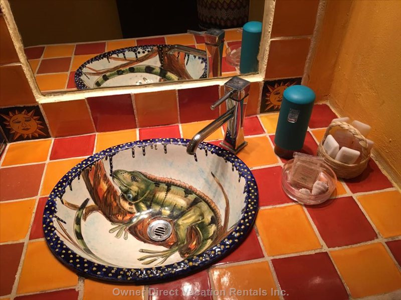 Bathroom is Decorated with Mexican Talavera by Viva Maria