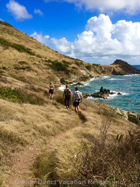 Hiking to Guana Bay from Pointe Blanche