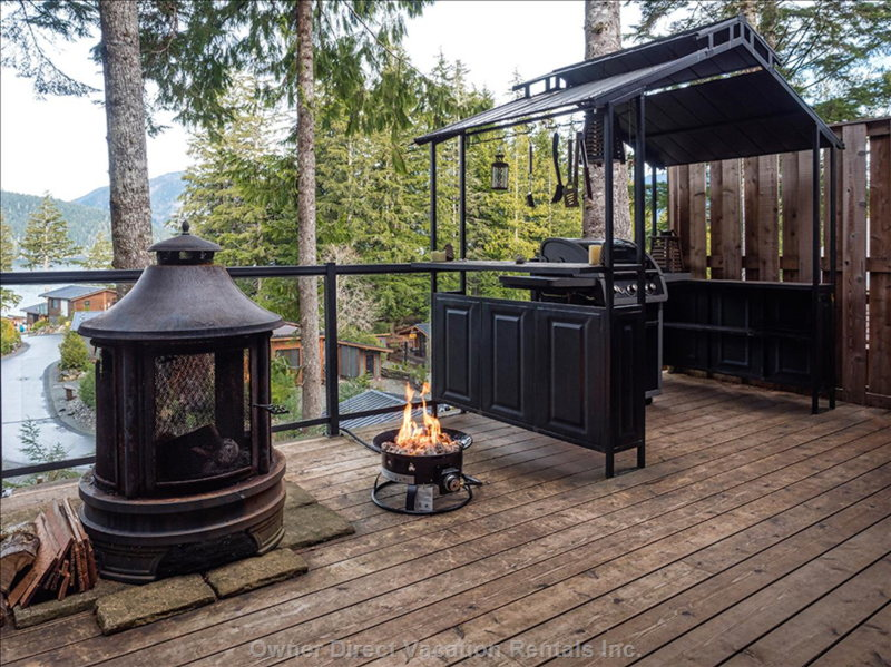 Wood and Propane Fire Pits and the Covered Bbq.