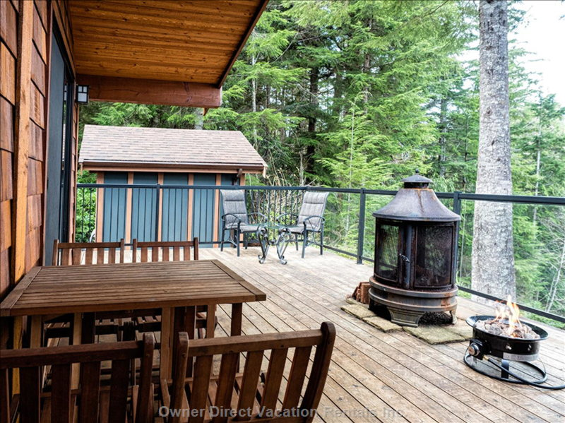 Large Private Deck and View of the Bunkhouse.
