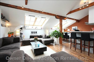 Exclusive Apartment in the Hearth of Prague, Fully Furnished. Living Room (over 50 Sq. Meters, 540 Sq. Feet)