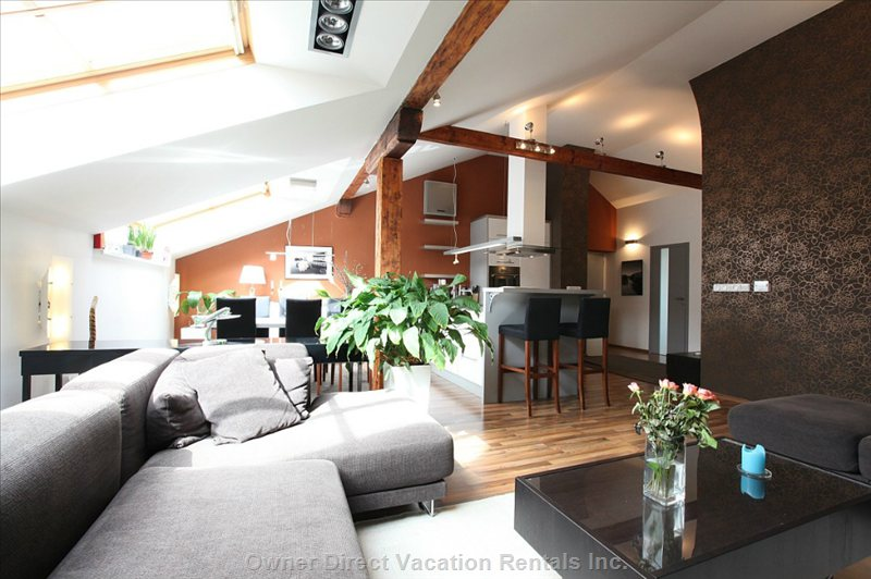The Apartment is Fully Furnished. The Living Room is Full of Day Light, Air-Con. Seating Area for Ten (Sleeping up to 3)