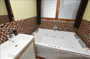 Main Bathroom has Spacious Jacuzzi and Private Sauna Made from Cedar Wood.