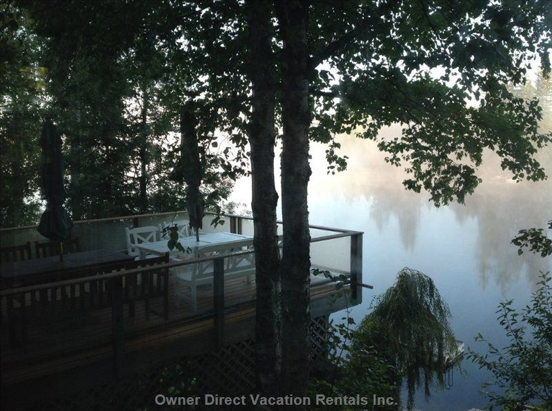 A Misty Early Morning on the Lake. The Lower Deck is a Great Place to Eat.