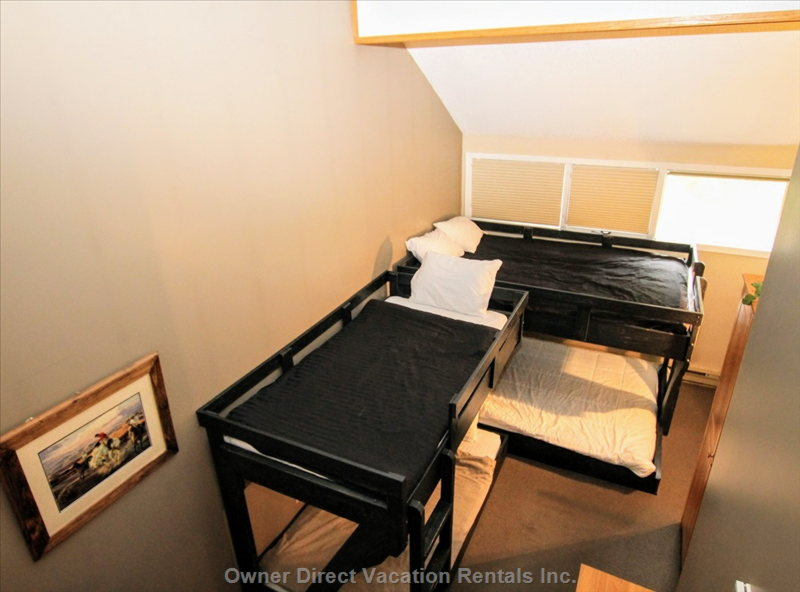 Den Area at Bottom of Loft Stairs - Queen/Double Bunk Bed and Single Bunk Bed