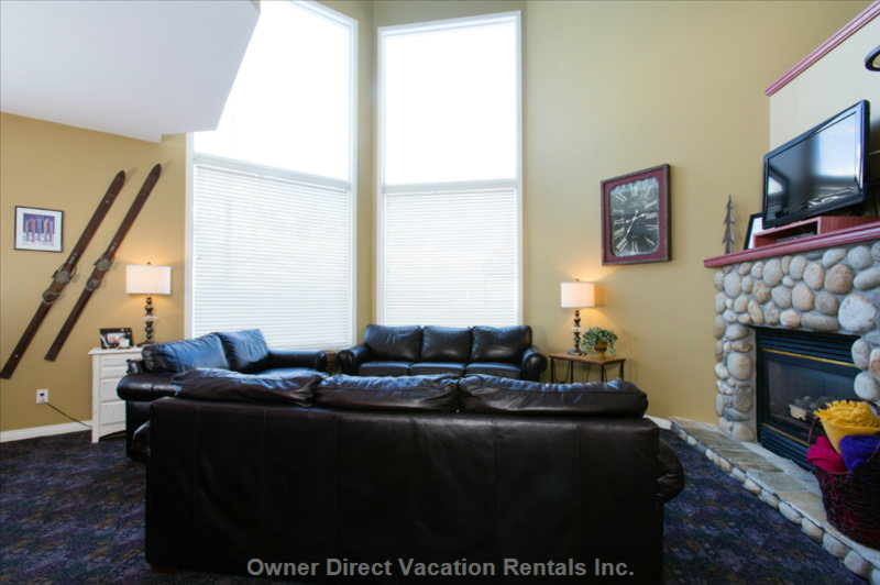 The Living Room has 16' Windows with a Full View of the Alpine Meadows Chairlift and Christmas Bowl.