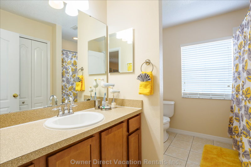 Family Bathroom with Tub-Shower. Located between 1st and 2nd Twin Rooms