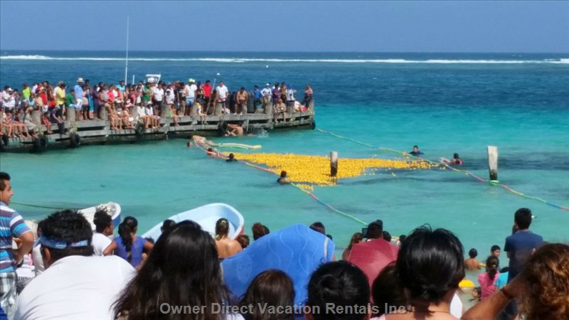 Rubber Ducky Charity Race at Municipal Dock in Puerto Morelos